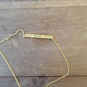 Younique •uplift empower validate• gold necklace